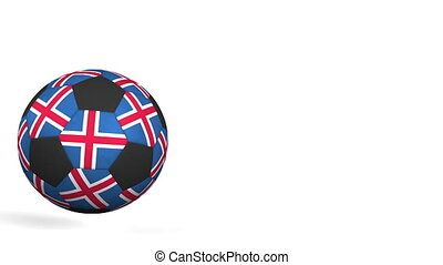 Football ball featuring flags of Iceland. Alpha matte for...