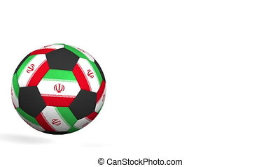 Football ball featuring flags of Iran. Alpha matte for easy...