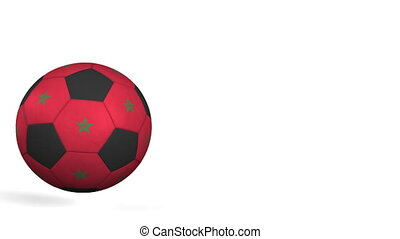 Football ball featuring flags of Morocco. Alpha matte for...