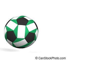 Football ball featuring flags of Nigeria. Alpha matte for...