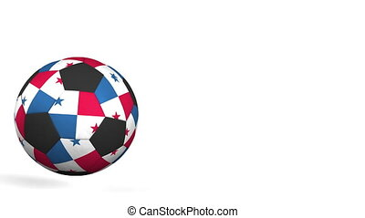 Football ball featuring flags of Panama. Alpha matte for...