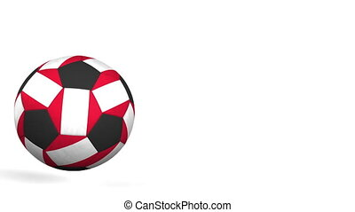 Football ball featuring flags of Peru. Alpha matte for easy...