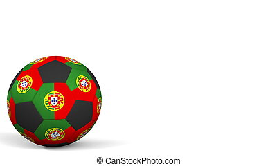 Football ball featuring flags of Portugal. 3D rendering