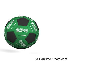 Football ball featuring flags of Saudi Arabia. Alpha matte...