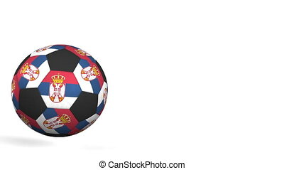 Football ball featuring flags of Serbia. Alpha matte for...