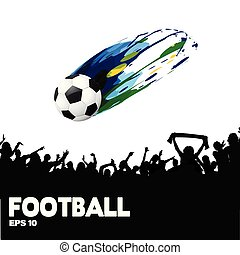 Football Ball Flies Crowd Background Vector Image
