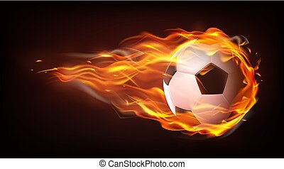 Football ball flying in flames realistic vector