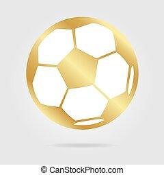 Football ball gold logo isolated