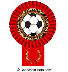 football ball gold medal red tape