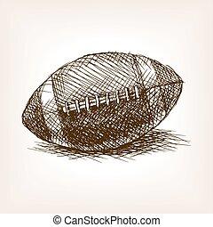 Football ball hand drawn sketch style vector