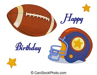 Beautiful football happy birhtday card