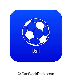 Football ball icon blue
