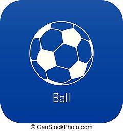 Football ball icon blue vector