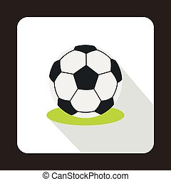 Football ball icon, flat style