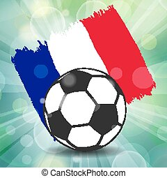 football ball icon on French flag background from brush strokes