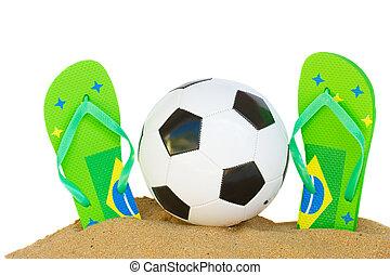 football ball in sand