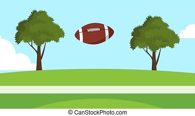 Football ball launched HD animation