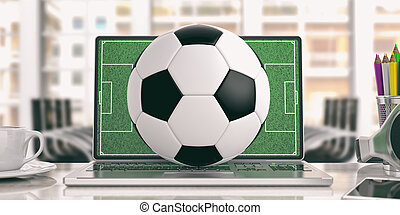 Football ball on a laptop - office background. 3d illustration