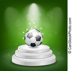 Football ball on white podium with light