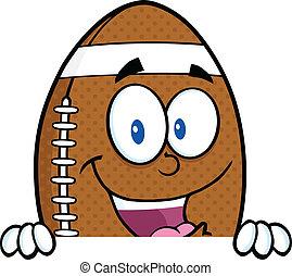 Football Ball Over Blank Sign - American Football Ball...