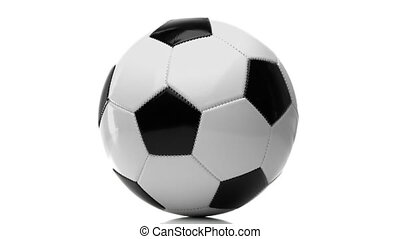 Football Ball Rotating on White