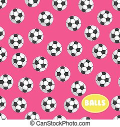 Football ball seamless pattern on pink background