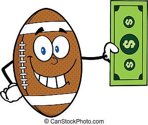 Football Ball Showing A Dollar