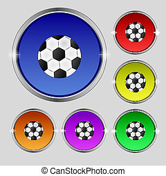 Football ball sign icon. Soccer Sport symbol. Set colourful buttons. Vector