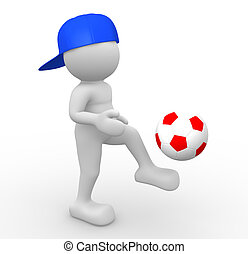 Football ball - 3d people - human character, person with a...