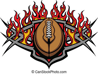 Football Ball Template with Flames - Graphic American...