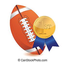 Football ball with award