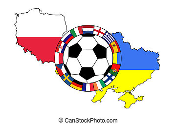 football ball with contours of Poland and Ukraine - vector...