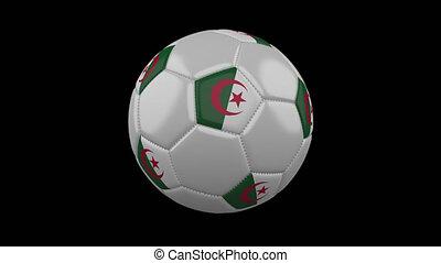 Football ball with flag Algeria loop 4k with alpha - Soccer...