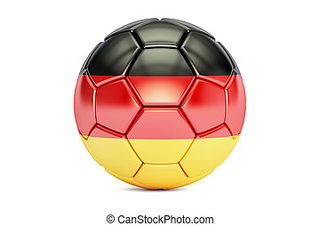 football ball with flag of Germany, 3D rendering