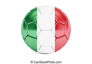 football ball with flag of Italy, 3D rendering