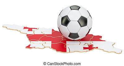 Football ball with map of Georgia concept, 3D rendering