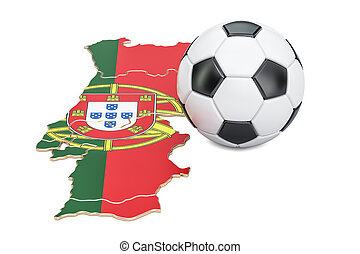 Football ball with map of Portugal concept, 3D rendering