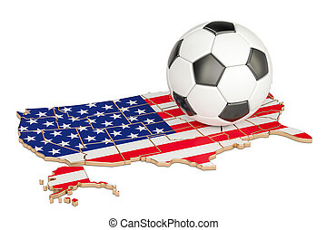 Football ball with map of USA concept, 3D rendering