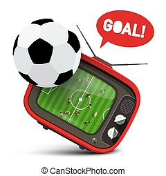 Football Ball with Soccer Match on Retro Tv and Goal Text in Speech Bubble. Sport Event Vector Symbol.
