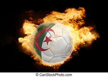 football ball with the flag of algeria on fire