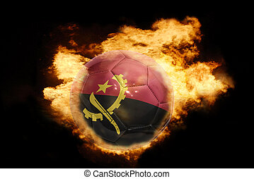 football ball with the flag of angola on fire