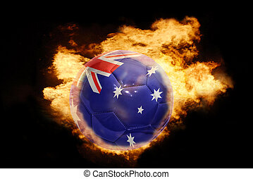 football ball with the flag of australia on fire