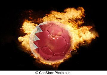 football ball with the flag of bahrain on fire