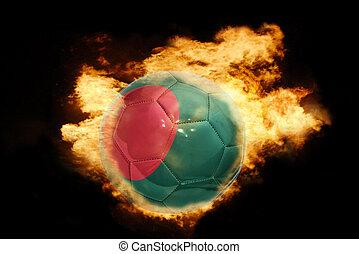 football ball with the flag of bangladesh on fire