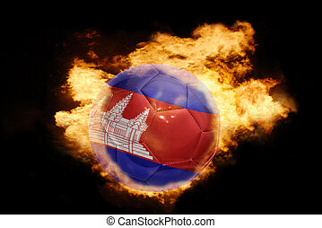football ball with the flag of cambodia on fire