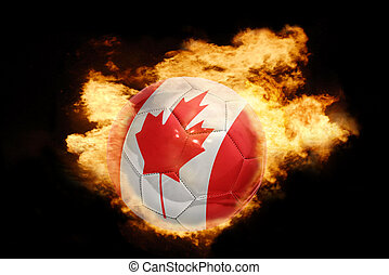 football ball with the flag of canada on fire