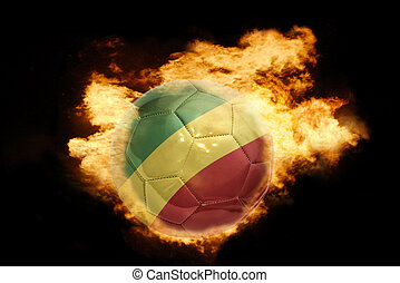 football ball with the flag of congo on fire