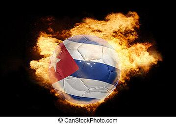 football ball with the flag of cuba on fire