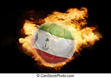football ball with the flag of equatorial guinea on fire