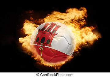 football ball with the flag of gibraltar on fire